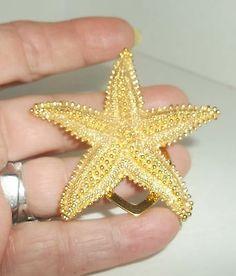 Gold Starfish Scarf Holder Very Detailed, 1291