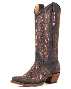 Womens Distressed Black/Brown Floral Pink Inlay Boots - A1953