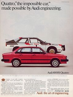 Audi quattro ad 1984 - click image for more great ads through the years