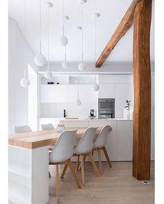 White Kitchen Interior Design With Modern Style 75 Interior Exterior, Interior Design Kitchen, Interior Architecture, Interior Modern, Küchen Design, House Design, Design Ideas, Modern Design, Table Design