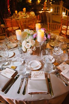 romantic pink table setting / flowers by Tropical Elegance Inc / photo by soulechostudios.com