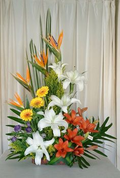 Contemporary Flower Arrangements, Tropical Flower Arrangements, Ikebana Flower Arrangement, Funeral Flower Arrangements, Beautiful Flower Arrangements, Beautiful Flowers, Altar Flowers, Church Flowers, Funeral Flowers