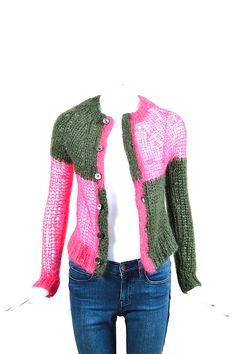 Comme Des Garcons. Japan. Junya Watanabe. Pink Green Wool Knit LS Cardigan