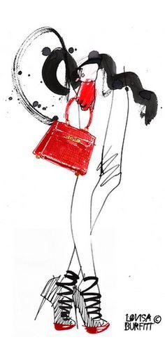 Fashion illustration by Lovisa Burfitt, Swedish, France-based artist.