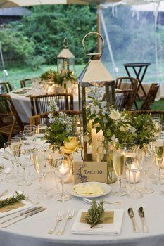 Display a tall candle in a tall lantern, surrounded by small vases of flowers/greenery!