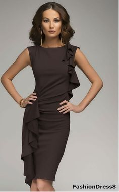 Dark Brown Knee Length Dress Elegant,Ruffle Dress For Woman. Party Dresses For Women, Trendy Dresses, Elegant Dresses, Cute Dresses, Beautiful Dresses, Casual Dresses, Short Dresses, Fashion Dresses, Fashion Clothes