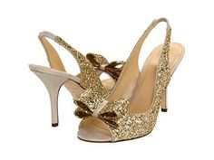 KATE SPADE Charm Heels Gold Glitter $295  (Compare Elsewhere $330) SHIPS FREE BEST PRICES YOU WILL FIND ANYWHERE ON GENUINE LADIES DESIGNER BRANDS! FREE WORLD SHIPPING & LOCAL DELIVERY AVAILABLE AT THE SURF CITY SHOP in Huntington Beach, California Major Credit Cards Accepted