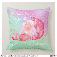 Mermaid fans favorite pink double-sided great deal throw pillow Custom Pillows, Decorative Pillows, Mermaid Home Decor, Mermaid Nursery, Girl Birthday Decorations, Pink Throw Pillows, Playroom Furniture, Furniture Ideas, Nursery Room
