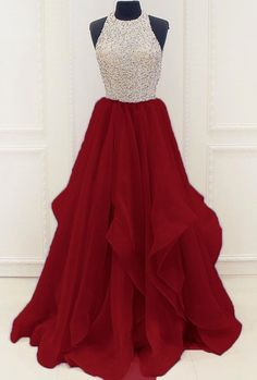 Gorgeous Beaded sequins Prom Dresses KeyHole Organza Sweet 16 Party Gown from love kiss Pretty Prom Dresses, Prom Dresses 2017, Grad Dresses, Pageant Dresses, Modest Dresses, Dance Dresses, Formal Dresses, Quinceanera Dresses, Wedding Dresses