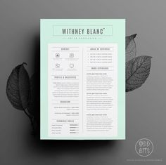 "Resume Template / CV Template + Cover Letter for Word | Instant Digital Download | The ""Peppermint"""