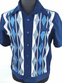 VINTAGE 1950's-60'S Atomic Striped ARGYLE Rockabilly VLV Shirt X-LARGE