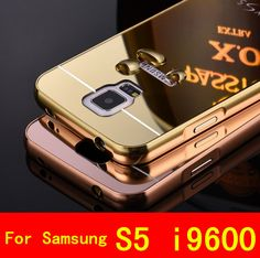 Luxury for samsung s5 cover aluminum metal frame mirror acrylic back case for galaxy s 5 i 9600 brand mobile phone cases 2015