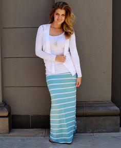 $22.99 - aqua + white maxi skirt.