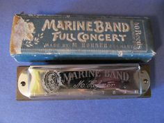 Vintage Hohner Full Concert, Marine Band,40 Reed Harmonica with Box, Shop Rubylane.com