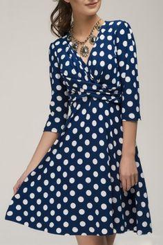 Vintage Plunging Neck 3/4 Sleeve Polka Dot Women's Prom DressVintage Dresses   RoseGal.com