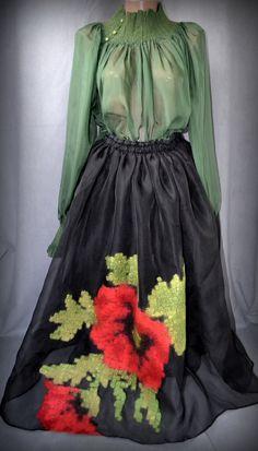 Silk organza skirt with red poppy, clothing, women's skirt, ellegant skirt, black silk skirt, art to wear Silk Organza, Silk Skirt, Red Poppies, Black Silk, Wool Felt, Poppy, Clothes For Women, Elegant, Skirts