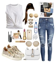 """""""Shopping."""" by perfectiongod ❤ liked on Polyvore featuring H&M, VILA, Giuseppe Zanotti, Christian Dior, Accessorize, Givenchy, Kissing Elixirs, Evian, Moschino and Louis Vuitton"""