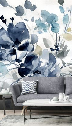 Stunning Indigo Garden 2 wall mural from Wallsauce. This high quality Indigo Garden wallpaper is custom made to your dimensions. Easy to order and install plus free US delivery. The colours in this wall mural are perfect for nature lovers who want someth Room Wallpaper, Wallpaper Ideas, Flower Wallpaper, Blue Floral Wallpaper, Watercolor Wallpaper, Watercolour Painting, Blue Wallpapers, Inspiration Wall, Wall Treatments