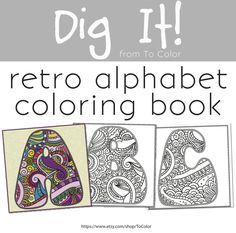 70s Retro Alphabet Coloring PDF EBook 26 Pages Instant Download Book
