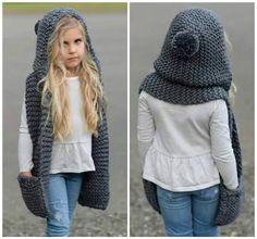 Crochet Scarves, Crochet Shawl, Crochet Clothes, Knit Crochet, Hooded Scarf Pattern, Crochet Bunny Pattern, How To Purl Knit, Balaclava, Dress Cuts