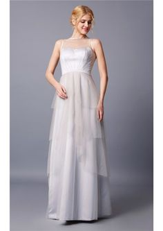 Floor Length Zipper Tulle Tiered White Square A-line Sleeveless Ruched Bridesmaid Dresses
