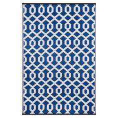 Green Decore Valencia 90x150cm Indoor/Outdoor Rug, Blue/White