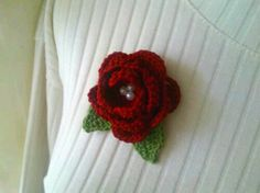 Instant Download Crochet Flower & Leaves Pattern: Classic Rose Brooch with tutorial and instructions, Beginner skill level by LaLehCrochet on Etsy