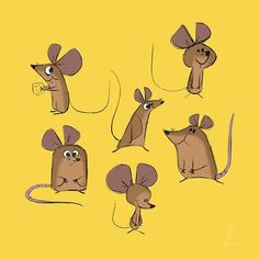 Some mouse designs for my final project. Character Design Animation, Character Design References, Character Art, Cute Cartoon Drawings, Animal Drawings, Maus Illustration, Cute Rats, Baby Drawing, Creature Design