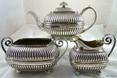 Antique Georgian Solid Silver Tea Set  Hallmarked 1808