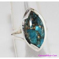 Artisan Jewelry Genuine Arizona Copper Blue Turquoise Stone 925..