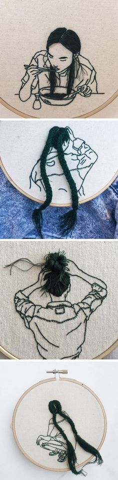 Hand-Sewn Hairstyles That Cascade From Embroidered Hoops by Sheena Liam / creative! Embroidery Art, Cross Stitch Embroidery, Embroidery Patterns, Embroidery Hoops, Cross Stitching, Textile Art, Hand Sewing, Sewing Art, Fiber Art
