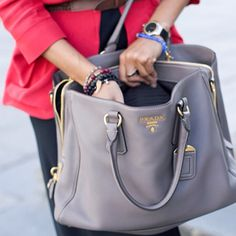 #Prada tote in gorgeous grey....