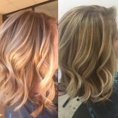 Inside and outside light Carmel and blond hair with a dark base