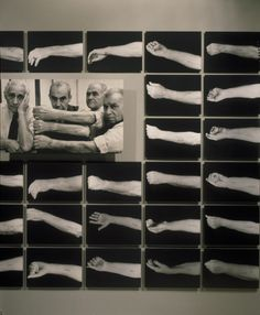 Portion of photo mural depicting Jewish Auschwitz survivors from Salonika showing their tattooed arms on the third floor of the permanent exhibition at the U.S. Holocaust Memorial Museum.