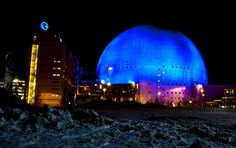 The Ericsson Globe Arena in Stockholm is the largest hemispherical building in the world, at 361 feet in diameter and an inner height of 279 feet. It is the national indoor arena of Sweden and can seat people. About Sweden, Indoor Arena, Scandinavian Countries, Lappland, Interesting Buildings, Gothenburg, Stockholm, Finland, Denmark