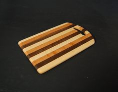 Striped Wooden Cutting Board With Handle - Hardwood Handmade In Vermont - Wood…