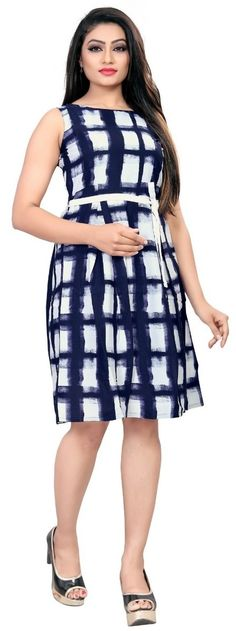 Blue American Crepe Block Print Partywear Fit & Flair Skater Western Dress / frock for women or Girl Western Dresses Online, Western Dresses For Women, Frock For Women, Designer Party Wear Dresses, Crepe Fabric, One Piece Dress, Lovely Dresses, Flare Dress, Frocks