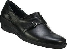 Bought these they are awesome look and fit.  This wedged loafer features a strap and buckle detail. It has a center stitch on the vamp, padded heel collar, and a removable footbed. It also features a direct attach PU outsole with rubber inset at heel and ball for added cushioning and flexibility.