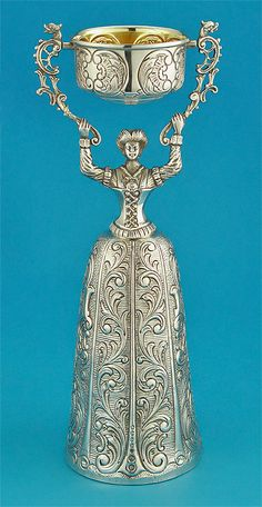SILVER REPLICA of a 17TH CENTURY FIGURAL WEDDING or WAGER CUP  HG (Garrido Hermanos?), Spain, 20th Century, .917 Silver