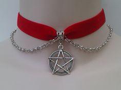 Tibetan Silver Large PENTAGRAM Pentacle Star Charm & Chain Black Velvet Ribbon Choker Necklace -sg... or choose another colour velvet :), via Etsy.