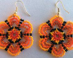 Mexican Huichol Beaded Flower Key chain by Aramara on Etsy
