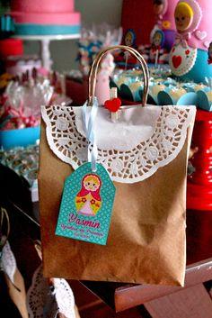 Matryoshka doll party favors from this gorgeous matryoshka girl birthday party! | CatchMyParty.com
