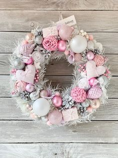 Silver White Christmas Wreath, Winter Holiday Decoration, Glass Ornament Decor, Front Door Door Wreaths Small Christmas Decorations Home Decor. and Garden Designs Room Design# Pink, silver and white Christmas wreath with little gifts Pink Christmas Decorations, Christmas Door Wreaths, Purple Christmas, Holiday Wreaths, Christmas Crafts, Christmas Swags, Burlap Christmas, Christmas Christmas, Weeks Until Christmas