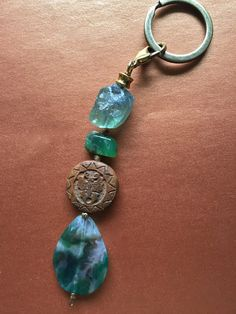 Boho Raw Gem Keychain Asain Tibetan Butterfly Hand by MinedStars