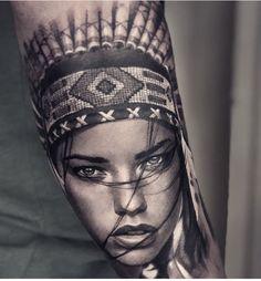 Indian Women Tattoo, Native Indian Tattoos, Indian Girl Tattoos, Indian Tattoo Design, Native American Tattoos, Bear Tattoos, Body Art Tattoos, Hand Tattoos, Headdress Tattoo