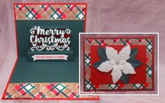 Join Summer Hills-Painter for a stunning holiday card on our blog: http://wp.me/p4kQzc-5nc. Summer started her card with a gorgeous plaid background on the front and inside. She crafted this background with the help of Karen Burnistonr's Stripes/Plaid Stage it Stencil, as well as a couple sparkly accent lines by combining our thin Clear Double Sided Adhesive Rolls with Silk Microfine Glitter. On the inside, Summer surprises us with Karen's Merry Christmas Pop Up! Also seen: Els's Poinsettia.
