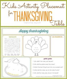Use this Kids Activity Placemat printable to keep children entertained and busy while at the Thanksgiving dinner table! http://KristenDuke.com