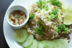 Pok Pok cookbook from Andy Ricker. Thai Khao Phat Muu (fried pork rice with cucumber and lime)