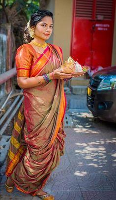 ishin Polyester Without Blouse Piece Saree Marathi Saree, Marathi Bride, Om Namah Shivaya, Indian Look, Indian Wear, Beautiful Women Pictures, Gorgeous Women, Kashta Saree, Priyanka Chopra Hot
