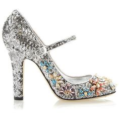 Dolce & Gabbana Silver Sequined Mary Jane With Swarovski Flowers (4,775 PEN) ❤ liked on Polyvore